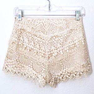 KIMCHI BLUE Cream White Crochet Scallop Mini Short